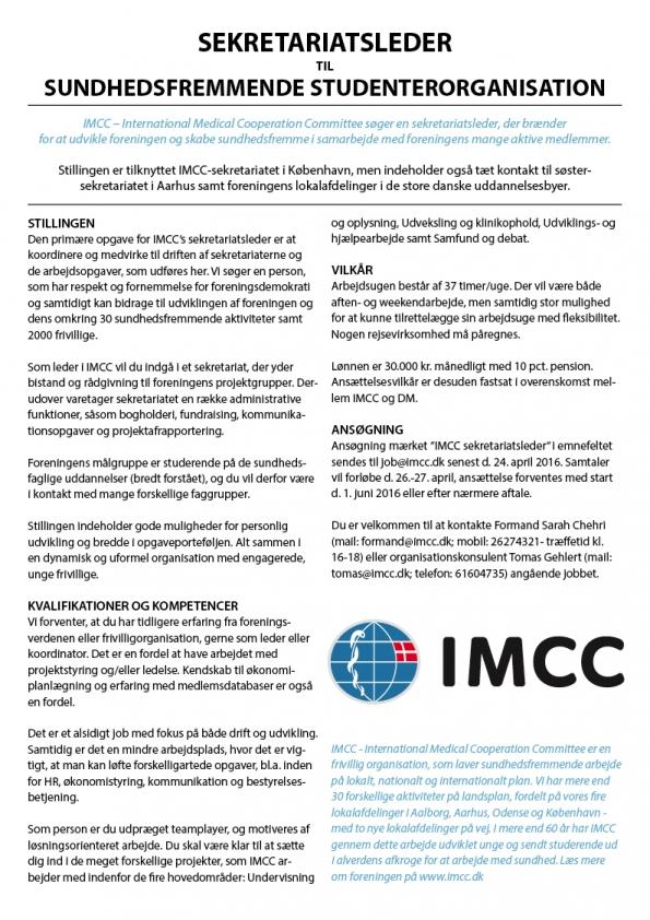 Sekretariatsleder til IMCC